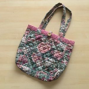 Vintage 80s Filipino Quilted Cotton Rose Tote